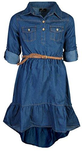 dollhouse Girls Belted Denim High-Low Chambray Dress, Dark, Size 10/12']()