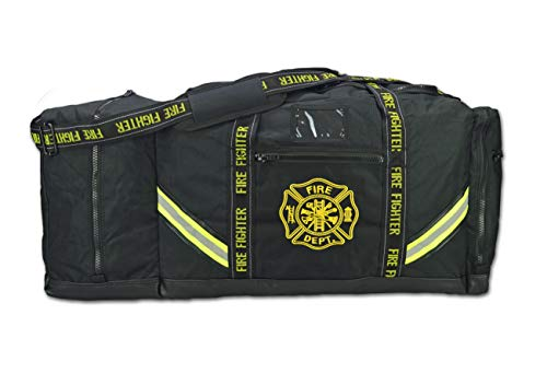 Lightning X Fireman Premium 3XL Firefighter Rescue Step-In Turnout Fire Gear Bag w/Shoulder Strap & Helmet Pocket (Black)