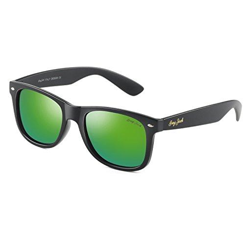 Matte Black Frame Green Lenses - GREY JACK Classic Polarized Retro Wayfarer Square Horn Rimmed Design Sunglasses for Men Women Matte Black Frame Green Lens