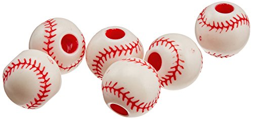 Darice B03-215COL Plastic Baseball Bead 12MM 12PC, Multicolor]()