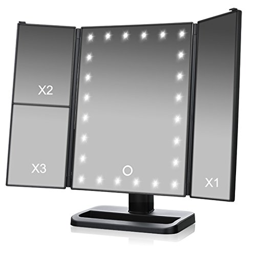 TVictory 3rd Gen Tri-Fold Lighted Mirror with 24 LEDs Lights for Makeup Vanity Cosmetic, Touch Screen and 3X/2X/1X Magnification, 180 Degree Free Rotation, 2 Power Supply Options, Black