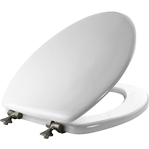 MAYFAIR Toilet Seat with Brushed Nickel Hinges will Never Come Loose, ELONGATED, Durable Enameled Wood, White, -