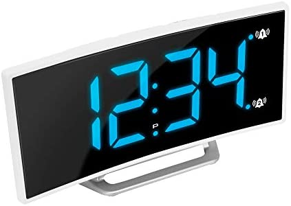 Marathon 2020 Edition USB Charging Alarm Clock, with Dimmable Curved Screen. 2 Alarms and Snooze Function. Battery Backup Included White Blue