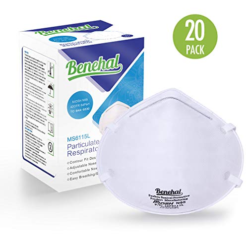 Benehal N95 Disposable Dust Masks NIOSH-Certified Particulate Respirator for Cleaning, Construction, Woodworking, Emergency Kits Mowing and More (MS6115L, 20-Pack) (MS6115L)