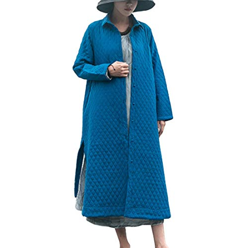 Pastello Con A Omasuwi color Size Blue Cappotto In M Color Lunga Manica Cotone Imbottito Bottoni Blue wYvYUI