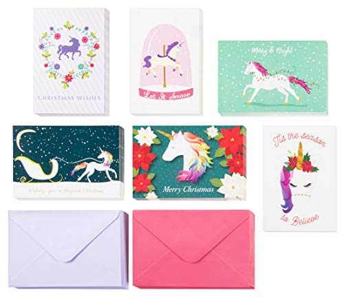 (48-Pack Merry Christmas Holiday Greeting Card - Happy Holidays Xmas Cards in 6 Rainbow Unicorn Designs, Bulk Assorted Festive Winter Holiday Cards with Envelopes, 4 x 6 Inches)