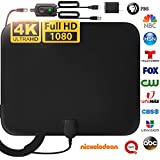 [LATEST 2020] Amplified HD Digital TV Antenna Long 150 Miles Range - Support 4K 1080p Fire tv Stick and All Older TV's Indoor Powerful HDTV Amplifier Signal Booster - 18ft Coax Cable/AC Adapter