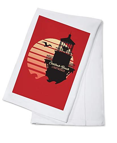 - Corolla, North Carolina - Currituck Beach Lighthouse - Vector Lighthouse and Sun 96243 (100% Cotton Kitchen Towel)