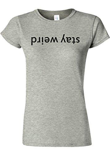 オフェンスいつか土Stay Weird Upside Down Funny Novelty Sports Grey Women T Shirt Top-M