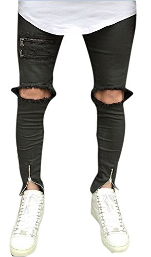 Men's Knee Broken Holes Multi Zipper Slim Skinny Fit Ripped Jeans Grey Black 28