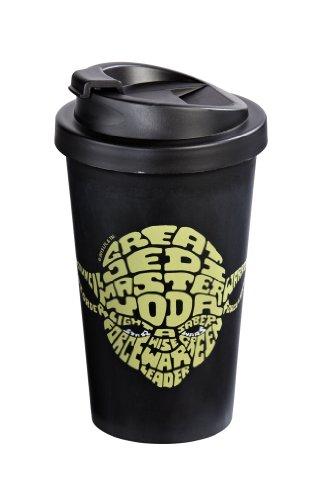 Star Wars 12275 Yoda - Vaso termico para el cafe (Doble Revestimiento de plastico, 400 ml), diseno con Texto en ingles Great Jedi Master Yoda