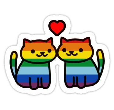 Neko Atsume Gay Pride Merch - Sticker Graphic Bumper Window Sicker Decal - Gay Pride Sticker