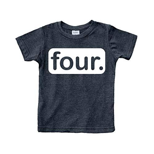 4th Birthday Shirt boy Gifts for 4 Year Old Boys Shirts Toddler Tshirt Fourth (Charcoal Black, - Toddler T-shirt 4