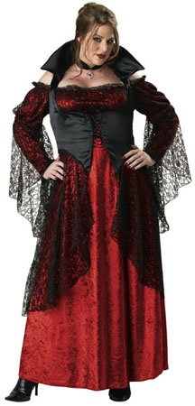 [InCharacter Costumes, LLC Vampiress Adult Plus Full Length Gown, Red/Black, XX-Large] (Red Vampiress Adult Costumes)