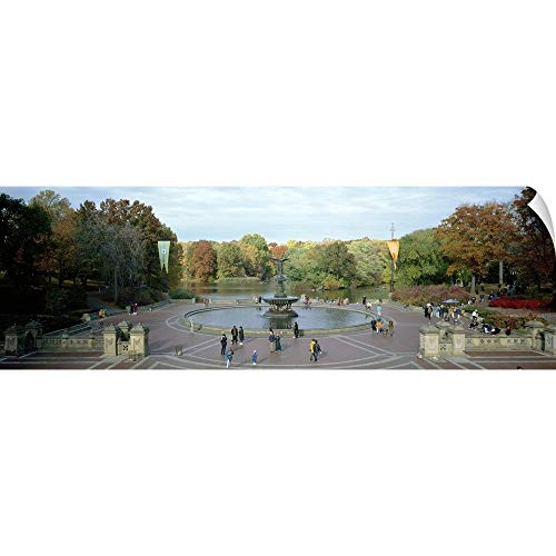 Manhattan Wall Fountain - CANVAS ON DEMAND Tourists in a Park Bethesda Fountain Central Park Manhattan New York City New York State Wall P.
