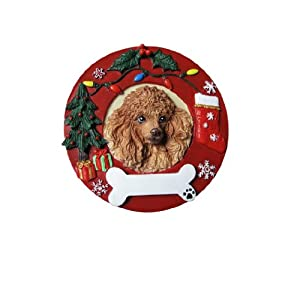 Poodle Christmas Ornament Apricot Wreath Shaped Easily Personalized Holiday Decoration Unique Poodle Lover Gifts 21