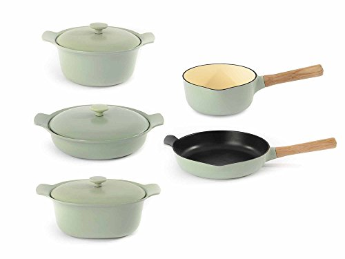 Berghoff RON Cookware Set Cast Iron Sauce Pan, Covered Deep Skillet, Covered Casserole dish, Fry Pan, 8pc, Green