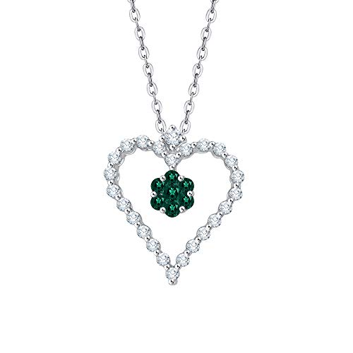KATARINA Prong Set Diamond and Floral Emerald Heart Pendant Necklace in 10K White Gold (3/8 cttw, J-K, SI2-I1)