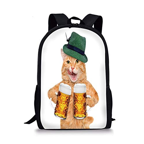School Bags Cat,Cool Cat with Hat and Beer Mugs Bavarian German Drink Festival Tradition Funny Humorous Decorative,Multicolor for Boys&Girls Mens Sport Daypack