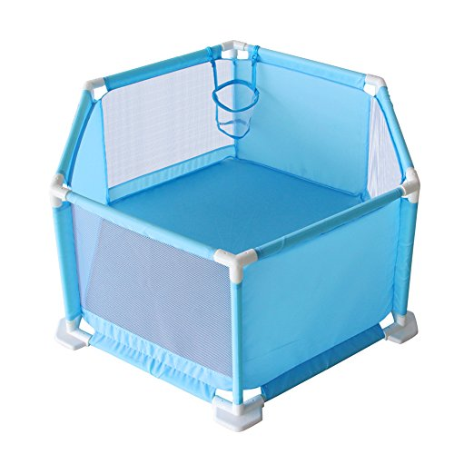 Fajiabao Child Safety Fence Ball Pit Tent Playpen Playard with Breathable Mesh, Portable Indoors Outdoors and Parks Great Gifts for Babies Infant Toddler Kids Blue ()