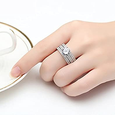 Amazon.com: Dixey Luxury Argollas de Matrimonio en Plata Anillos ...