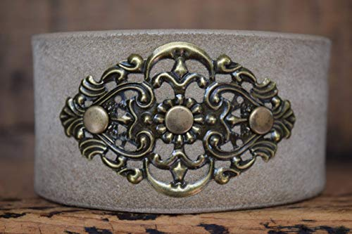 Magnolia Studio Filigree Leather Cuff Bracelet Gift For Women, Sister, Daughter, Mother Wristband Bangle Wrap Jewelry -