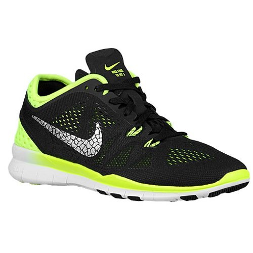 Nike Women's Wmns Free 5.0 TR Fit 5 BRTHE, BLACK/METALLIC SILVER-VOLT, 12 US by NIKE