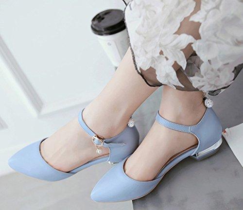 Idifu Femmes Strass Doux Pendentif Fermé Bout Pointu Bas Pompes À Boucle Supérieure Chaussures Avec Bride À La Cheville Bleu