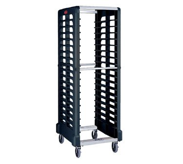 Rubbermaid Commercial Products Max System Food Service Storage/Food Box Racks, Dual-Slot, 18-Slot, Black (FG332400BLA)