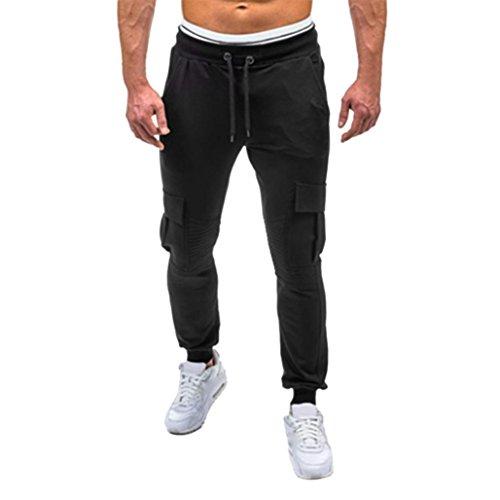 Men Sweatpants,Caopixx Men's Running Trousers Athletics Mens Twill Jogger Pants Soft Stretch Slim Fit Trousers (Asia Size L2=US Size XL, Black) from Caopixx Trousers