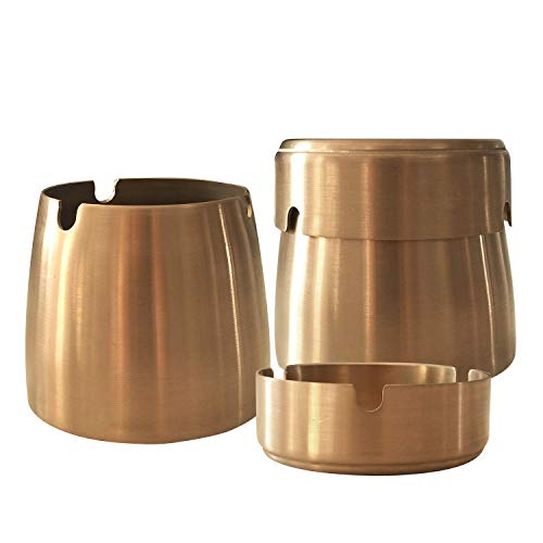 (YONGAN Ashtray with Lid,Stainless Steel Windproof Unbreakable Modern Ashtray for Indoor or Outdoor Use, Gold, Small)