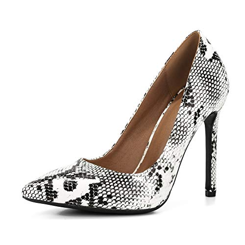 (fereshte Women's Classic Pointy-Toe Dress Pumps Sexy Slip-on Stiletto High Heels PU Python EU46)