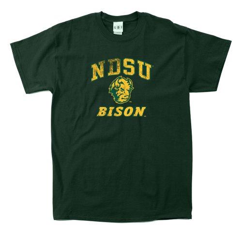 NCAA North Dakota State Bison 100-Percent Pre-Shrunk Vintage Mascot Short Sleeve Tee, Large, Forest