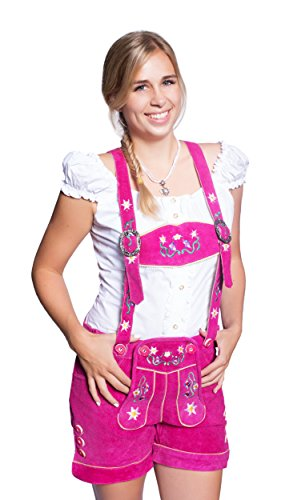 Kurze Damen Trachten Trachtenlederhose Lederhose inkl. Trägern, 4 Farben wählbar, braun, lila, pink, grün, Rindsveloursleder (38 (BW 80-86 cm), Pink)