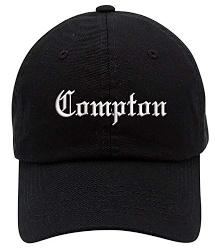 TOP LEVEL APPAREL Compton Text Embroidered Low Profile Soft Crown Unisex Baseball Dad Hat Black]()