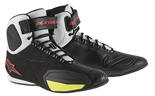 Alpinestars Faster Men's Vented Street Motorcycle Shoes - Black/White/Red/Yellow / 10 (Vented Motorcycle Boots)