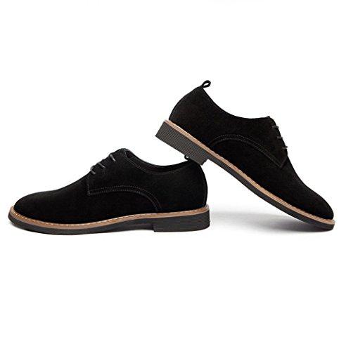 Heart&M zapatos de cuero de ante de corte bajo de los hombres casual cuero Black