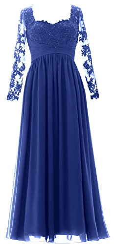 Long Evening the Formal of Royal Dress Sleeves Blue Maxi Mother Gown Women Bride MACloth zgq8XnwEE