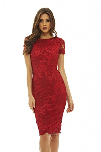 Red Crochet Lace - AX Paris Women's Crochet Lace Midi Dress(Red, Size:8)