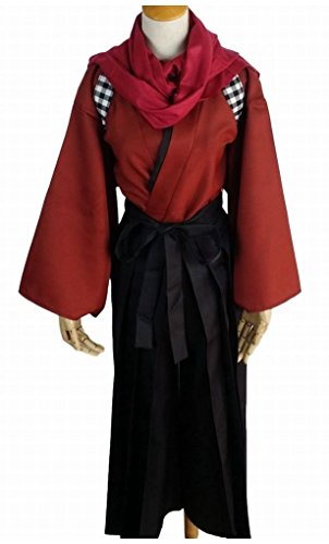 POJ Japanese Samurai Costume [ M / L / XL Size Blue / Red for Unisex ] Anime Cosplay (M, Red) (Cosplay Store Near Me)