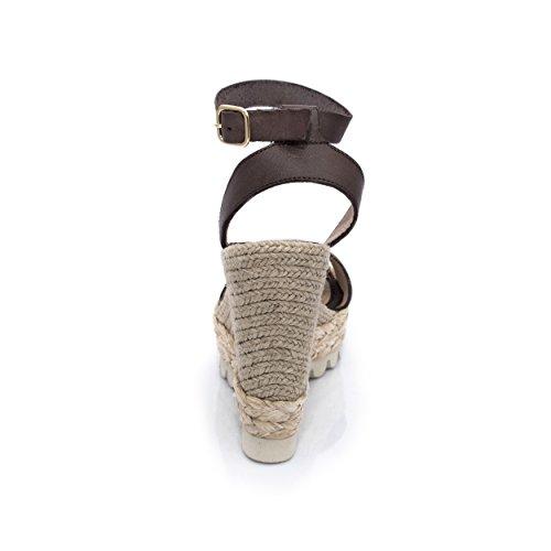 MTBALI Sandalen mit Keilabsatz Alpargata Damen - Modell Savane Braun