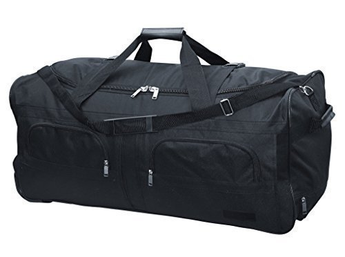 McAllister Travel System Sac de voyage avec Rolen Chariot Sac de sport Sac de voyage Noir 60L 80L 100L ou 140L - 140 v