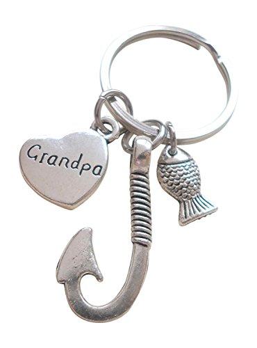 Little Fish Charm - Grandpa Fish Hook Keychain with Little Fish Charm - Hooked on You Grandpa; Grandpa's Keychain