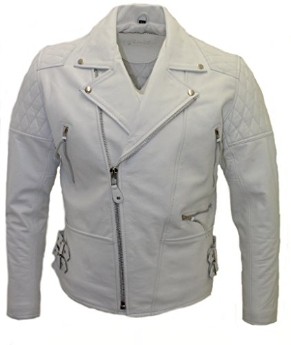 Mens White Leather Motorcycle Jacket - 5