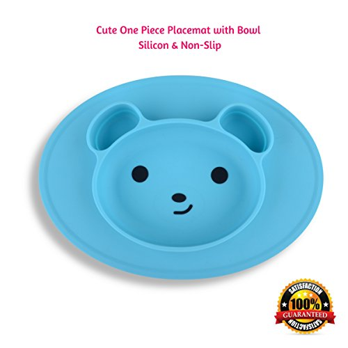 Bear High Chair (Placemat for Babies & Toddlers & Kids, One Piece with Bowl Dish, Baby Feeding Place Mat with Cute Bear Face, Non-Slip 100% Food Grade Silicon & BPA Free, Dishwasher Safe (BLUE))