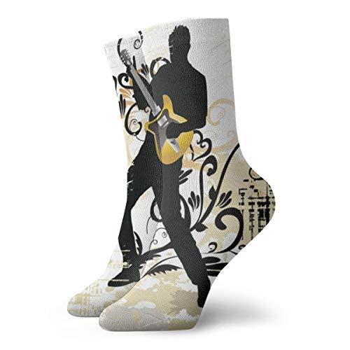 Unisex High Ankle Cushion Crew Socks Guitar Art Casual Sport -