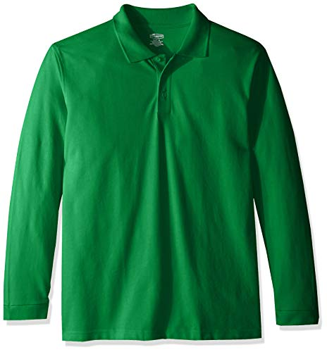 Classroom School Uniforms Men's Adult Unisex Long Sleeve Pique Polo, sos Kelly Green, L ()