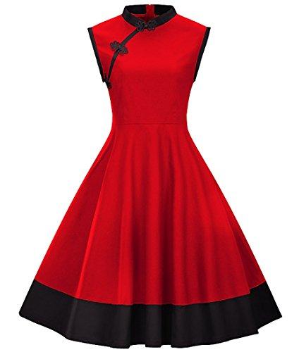 Tecrio Women's Modern Chinese Qipao Cheongsam 3/4 Sleeve Custom Swing Dress XXL Red-2