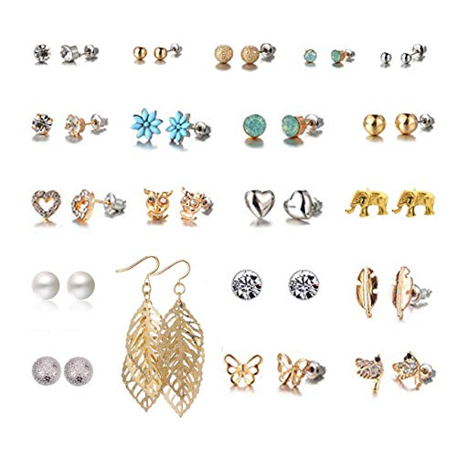 Spiritlele 20 Pairs Elephant Stud Earrings Set Pearl Crystal piercing Earrings Pack for Women Girls (20 leaf new)