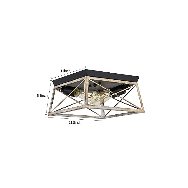 Pauwer 2 Light Flush Mount Ceiling Light Industrial Rustic Ceiling Light Fixture with Square Metal Cage Shade Ceiling…